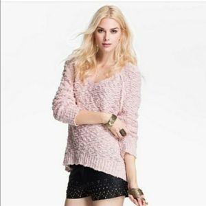 Free People Songbird Sheer Pink Boucle Sweater